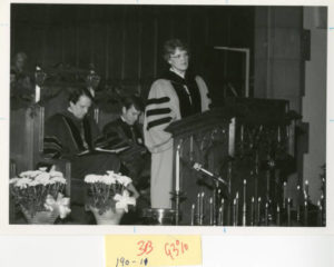 Jean Lambert preaching at North Park Covenant Church, 1980s. (Image credit: CAHL 17717)